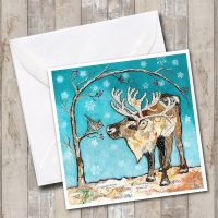 Reindeer & Bird - Card