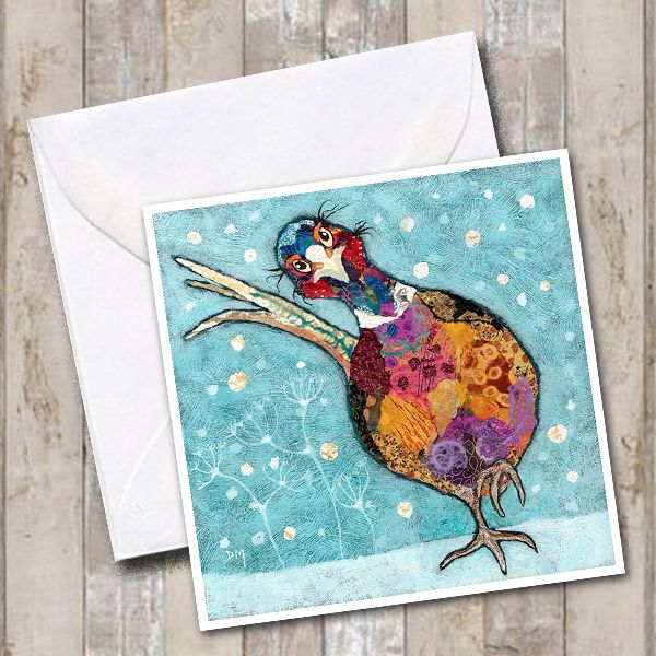 Pheasant walking in the Snow Art Greetings Card