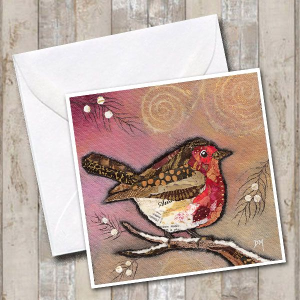 Winter Robin on Blush Greetings Card
