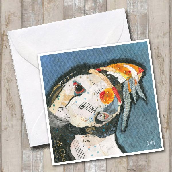 Puffin eating fish Art Greetings Card