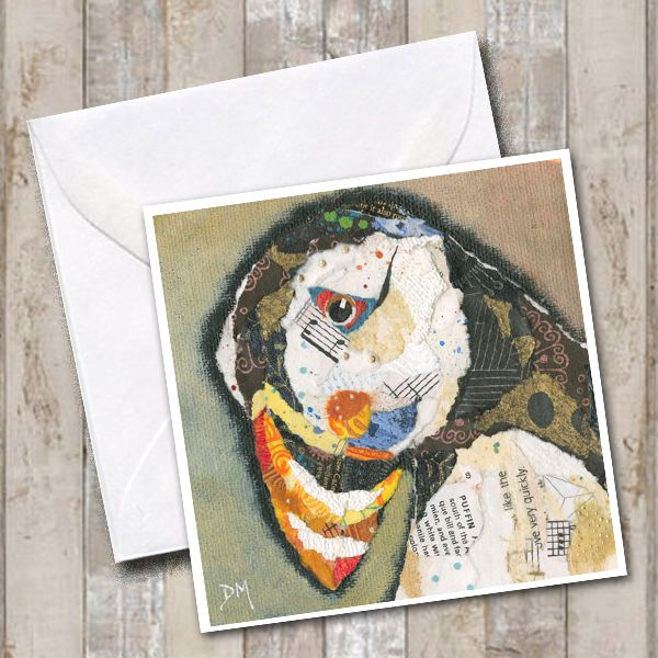 Sad Lonely Puffin Art Card