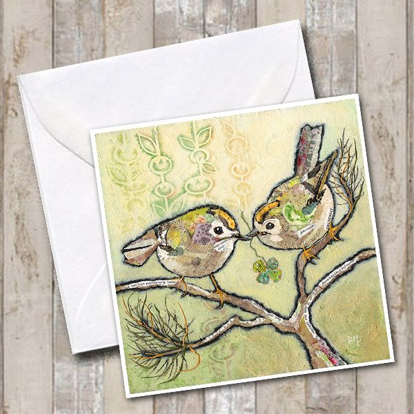 Lucky Goldcrest Birds Art Card