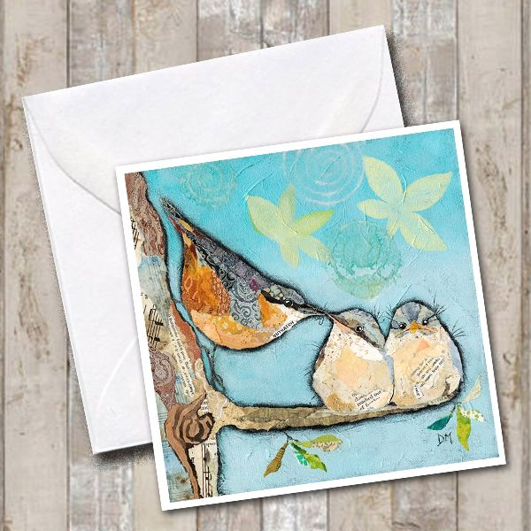 Nuthatch Bird & Chicks Art Card