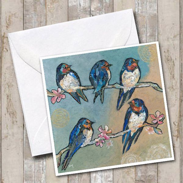 A Flight of Swallows Art Greeting Card