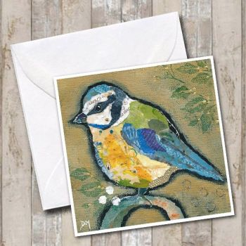 Blue-tit on Ochre Card
