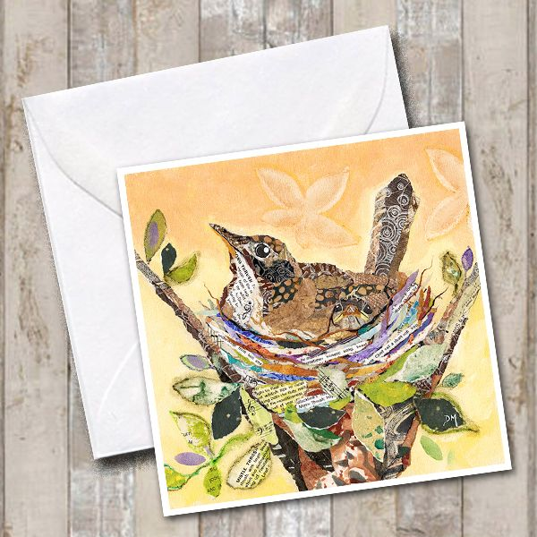 Thrush in Nest Art Greetings Card