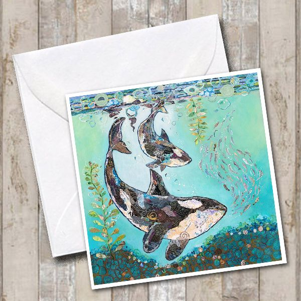 Orca Killer Whale and Calf in Underwater Scene Art Greetings Card
