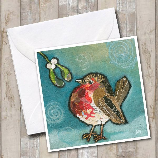 Robin and Mistletoe Greetings Card