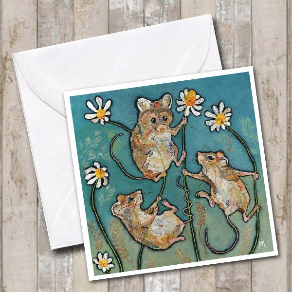 Three Little Mice Climbing Daisies Torn Paper Art Greetings Card