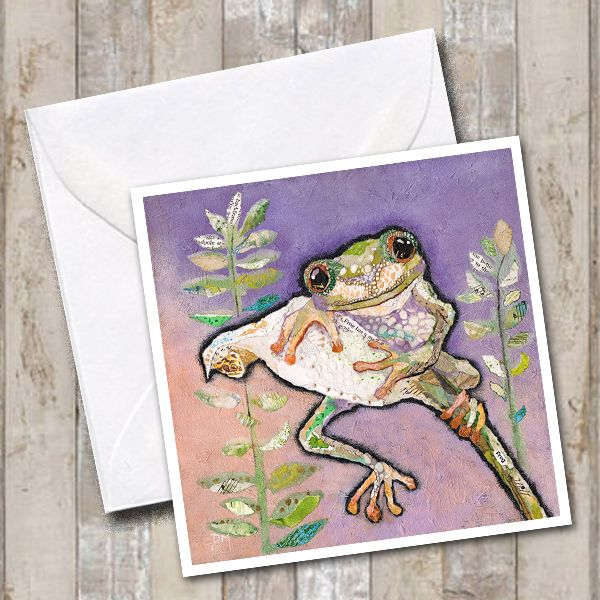 Tree Frog on Flower with Purple Background Art Greetings Card