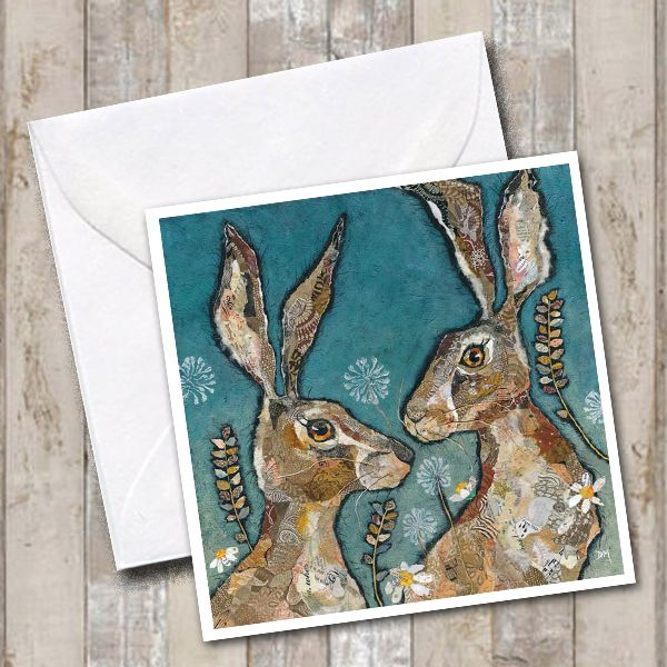 Two Hare Friends- Card