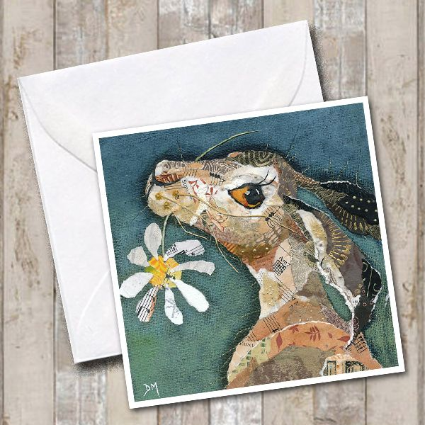 Hare with Flower Greetings Card