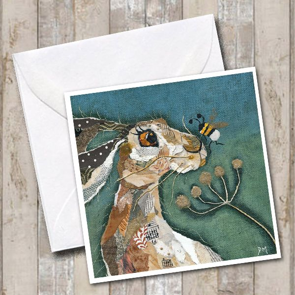 Nosey Bumble Bee & Hare - Card
