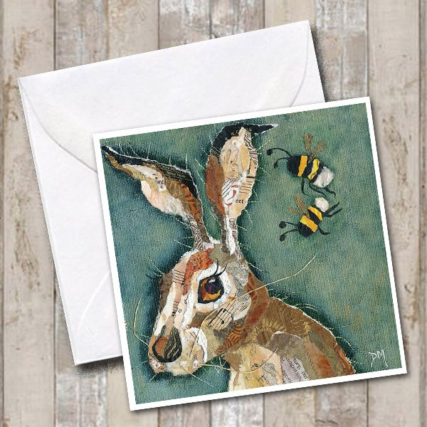 Hare & Two Bumble Bees - Greetings Card
