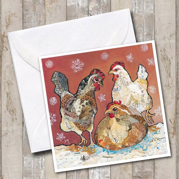 Three Hens in Snow Art Greetings Card