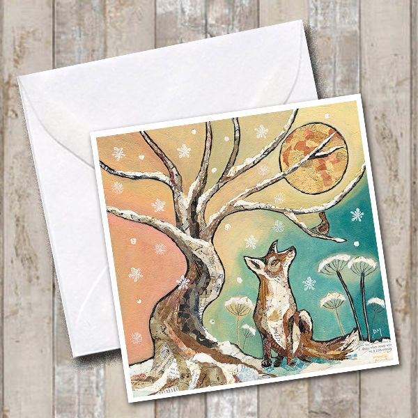 Wintry Fox & Moon Greetings Card