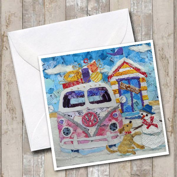 Pink Campervan in Snow  Winter Greeting Card