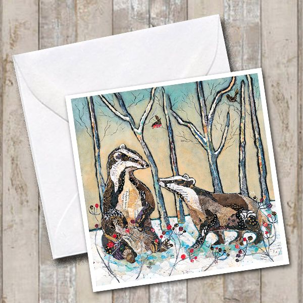 Winter Woodland Badger Art Card