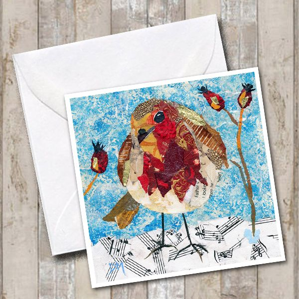 Musical Robin Snow Collage Art Card