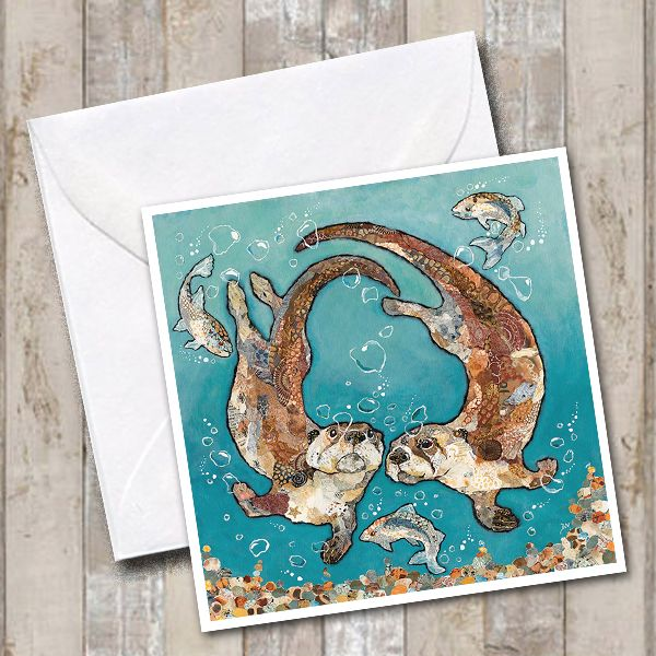 Two Otters Swimming with Fish Art Greetings Card