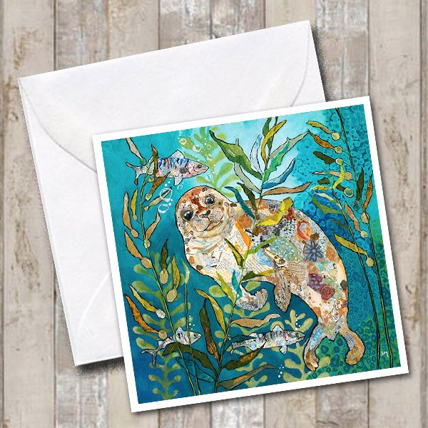 Seal in Underwater Scene Art Greetings Card