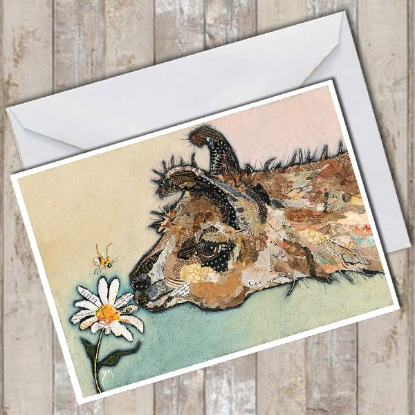 Llama Smelling a Flower with Bumble Bee Art Greetings Card