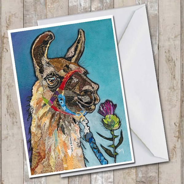 Llama and Thistle on Blue Background Art Greetings Card