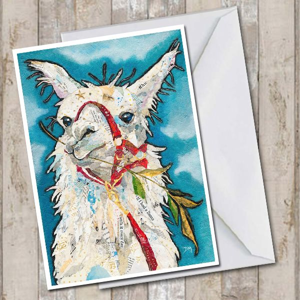 Llama Eating Grass on Blue Background Art Greetings Card