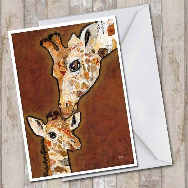 Giraffe and Calf Art Greetings Card