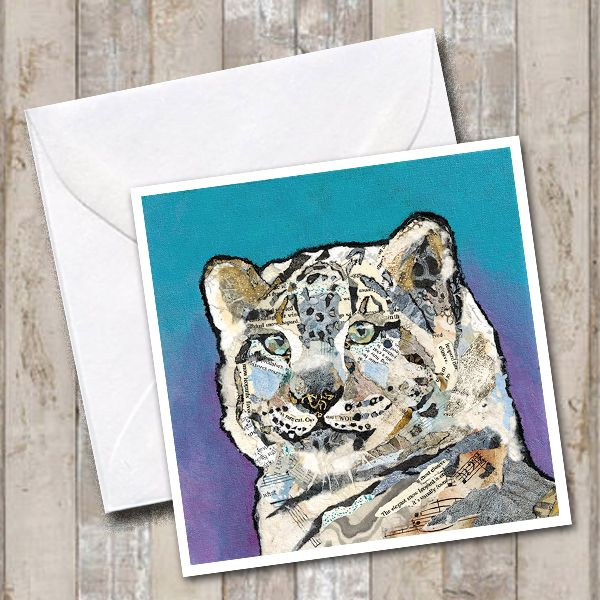Snow Leopard Square Art Greetings Card