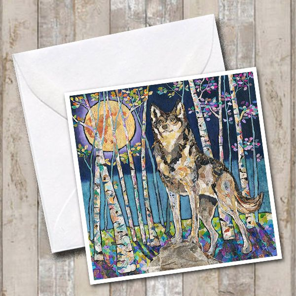 Wolf & Moon in Woodland Scene Art Greetings Card