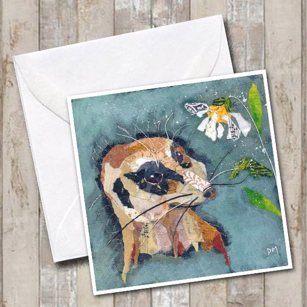 Meerkat and Flower Art Square Greetings Card