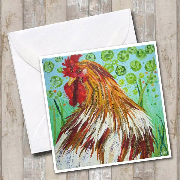 Cockerel on Blue Green Background Art Greetings Card