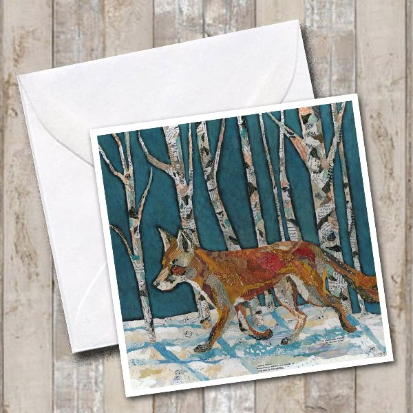 Winter Woodland Trotting Fox Card