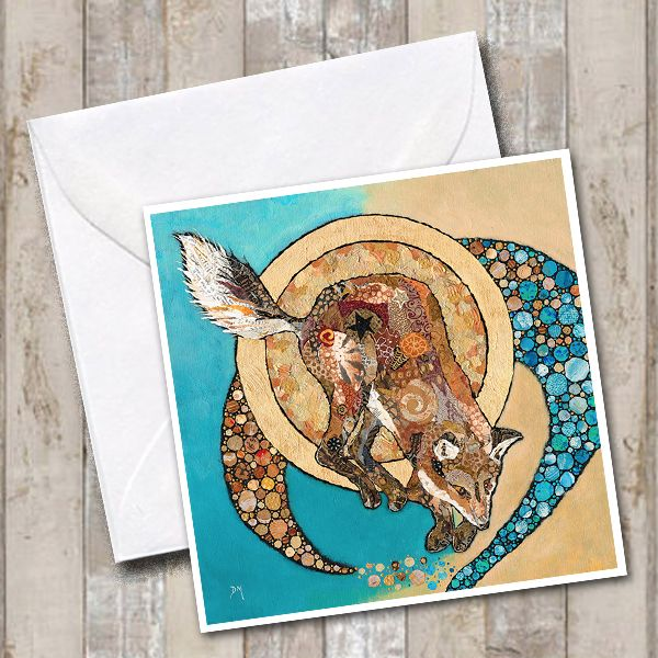 Fox & Golden Moon Greetings Card