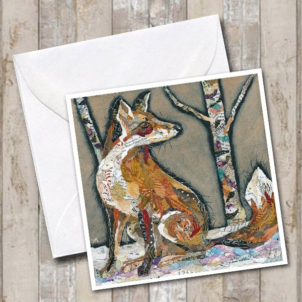 Fox in Winter Woodland Greetings Card