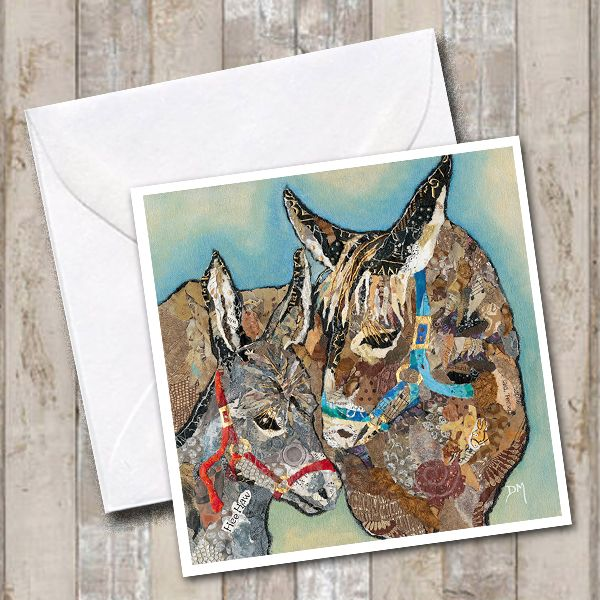 Mother and baby donkey card
