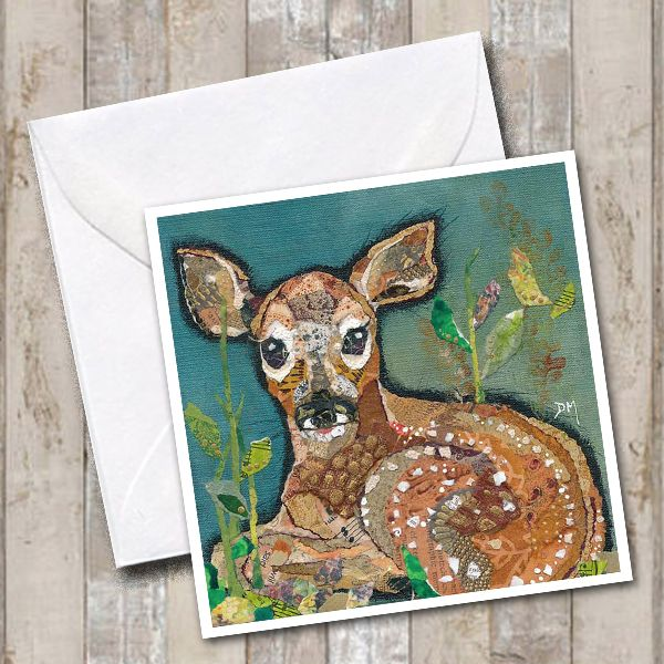 Baby Deer Fawn Lying Down in Woodlandart Greetings Card