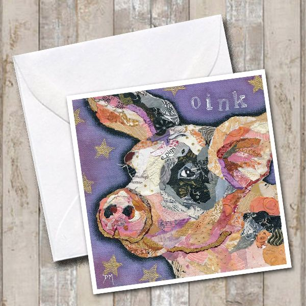 pig with black eye greetings card
