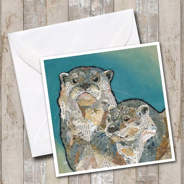 Two Otters Torn Paper Art Printed Greetings Card