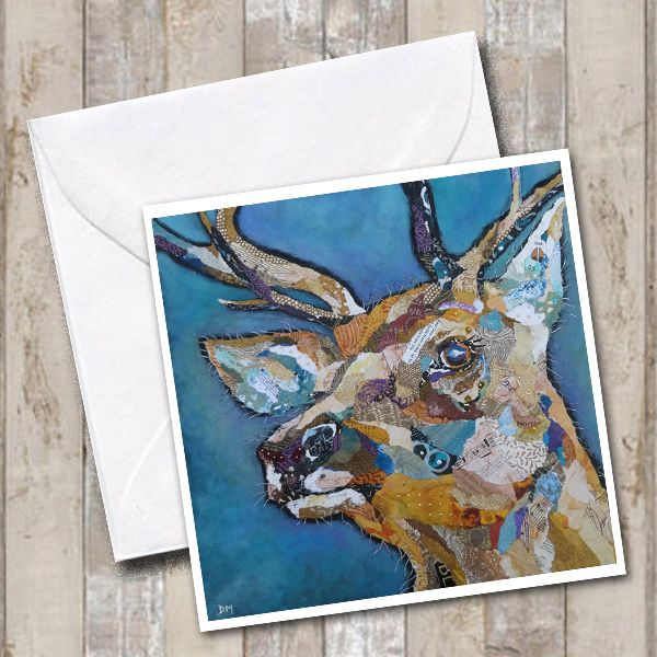 Red Deer on Blue Background Art Greetings Card
