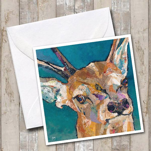 Red Deer Buck Art Greetings Card