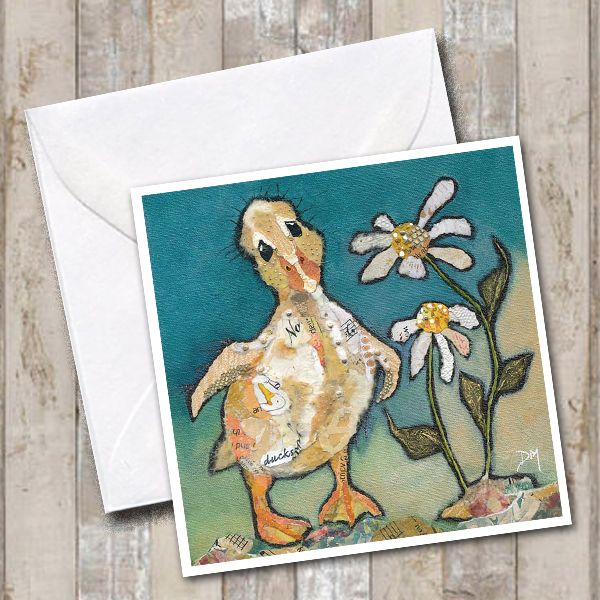 Sad Baby Duckling Art Greetings Card