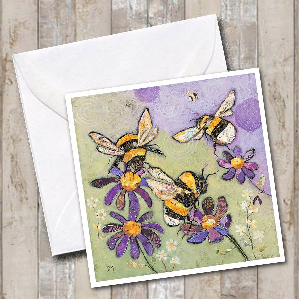 Bumble Bee and purple flowers Card