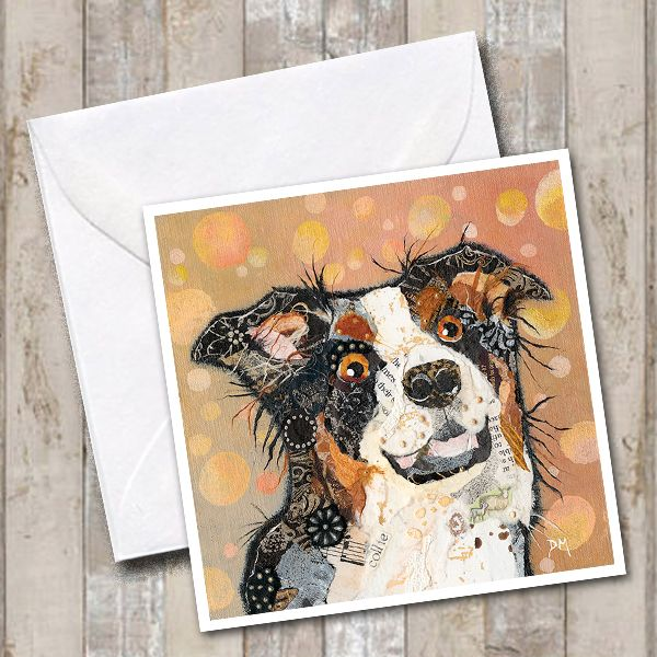 Tri-colour Border Collie Art Greetings Card