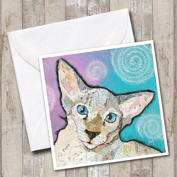 Seal Tabby Siamese Cat Art Greetings Card