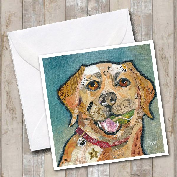Labrador holding Ball Art Greetings Card
