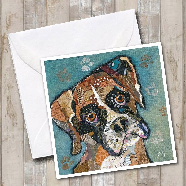 Boxer Dog Art Greetings Card