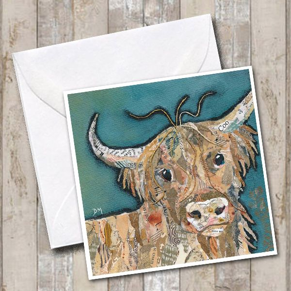 Ailsa Highland Cow Square Art Greetings Card