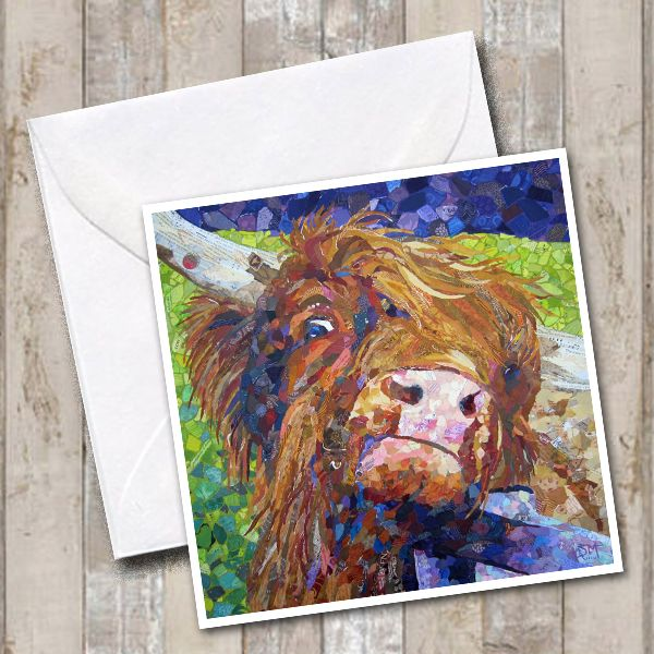 Alfie Highland Cow Art Greetings Card